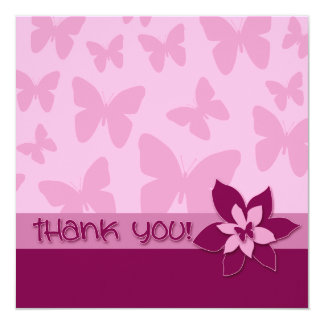 Thank You Card, Pink Butterflies, Dark Pink Flower Card