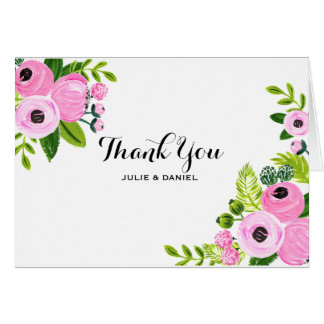 Thank you card Pink Flowers