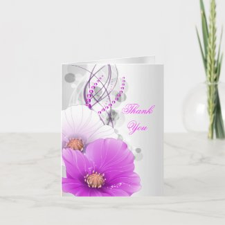 Thank You Card Pink White Poppies zazzle_card