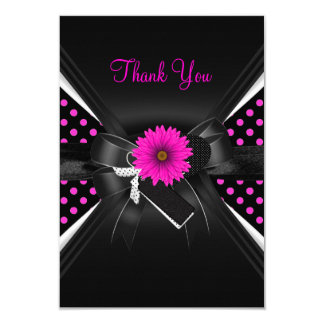Thank You Card Polka Dot  Black White Pink