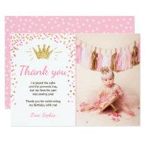 Thank you card Princess Birthday Gold Pink