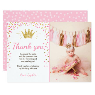 Thank you card Princess Birthday Gold Pink