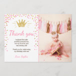 """Thank you card Princess Birthday Gold Pink<br><div class=""""desc"""">♥ A perfect way to thank your guests for coming to your little one&#39;s birthday party! Little Princess theme with pink and gold,  confetti and a crown.</div>"""