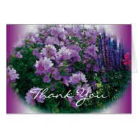 Thank you card, purple hisbiscus flowers greeting cards