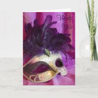 Thank You Card - Purple Masquerade Mask