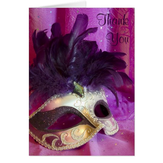 Thank You Card - Purple Masquerade Mask