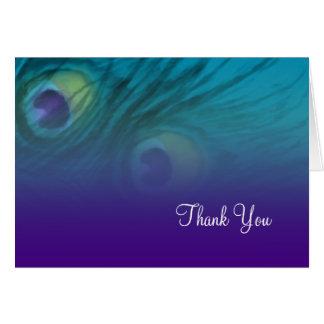 Thank You Card Purple Teal Peacock