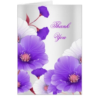 Thank You Card Purple White Poppies