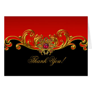 Thank You Card Red Gold Black