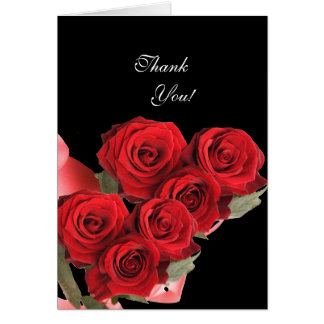 Thank You Card Red Rose Black