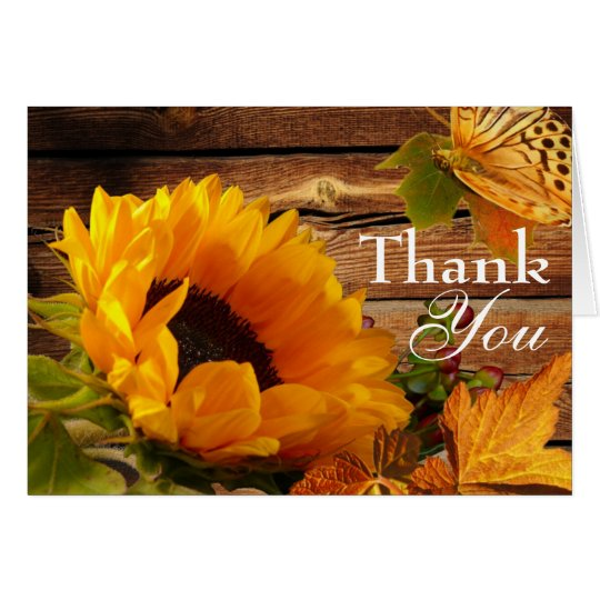 Thank You Card, Rustic Country Fall Sunflower Card