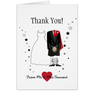 Thank You Card Scottish Bride & Groom kilt - red