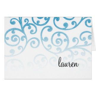 Thank You Card Scroll Pattern Turquoise