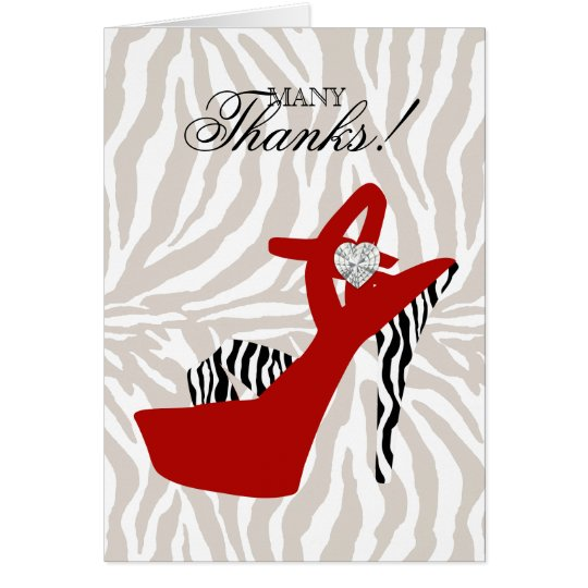 Thank You Card Sexy High Heel  Zebra Shoe Red