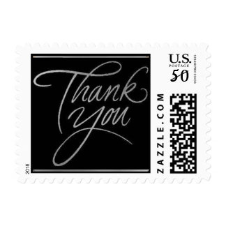 Thank You card- Silver postage stamp small