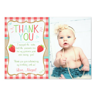 Thank you card Strawberry First Birthday Summer