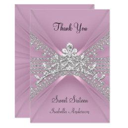 Thank You Card Sweet Sixteen 16 Tiara Pink