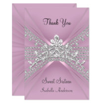 Thank You Card Sweet Sixteen 16 Tiara Pink
