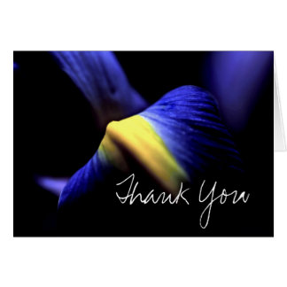 Thank You Card (Template) Iris Floral Macro Blue