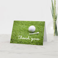 Thank you card to golfer with golf ball and tee