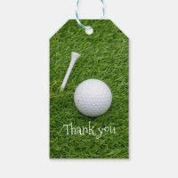 Thank you card to golfer with golf ball and tee gift tags