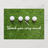 Thank you card to golfer with golf ball on green