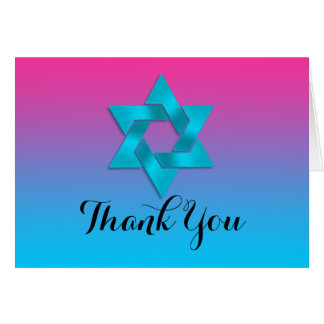 Thank You Card Turquoise to Pink Ombre with Star