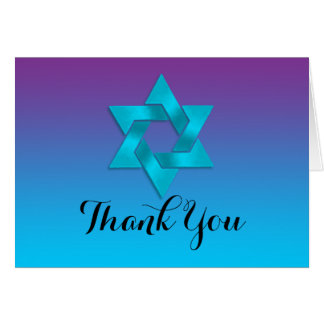 Thank You Card Turquoise to Purple Ombre with Star