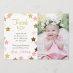 """Thank You Card Twinkle Little star Pink Gold Girl<br><div class=""""desc"""">♥ A cute and fun birthday thank you card to thank your guests! With a little star theme for a girl birthday. Pink and gold.</div>"""