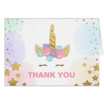 Thank you card Unicorn Gold Pink Girl Whimsical
