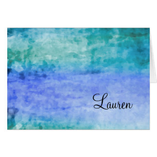 Thank You Card Watercolor Streaks Blue