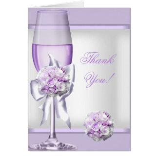 Thank You Card Wedding Lavender Purple Lilac 3 Cards