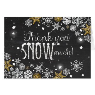 Thank you card Winter Cold Snowflakes Silver Gold