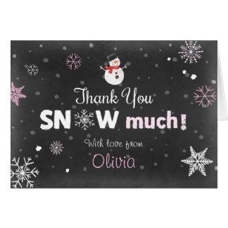 Thank you card Winter Onederland Snowman Pink Girl
