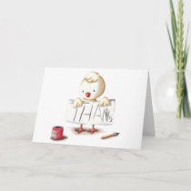 Thank you card with a chicken illustration