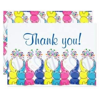 """Thank you"" card with baby elephants"