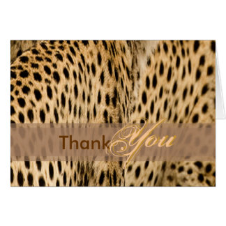 Thank You card, with cheetah skin Card