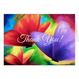 Thank You Card With Clorful Butterflies Painting
