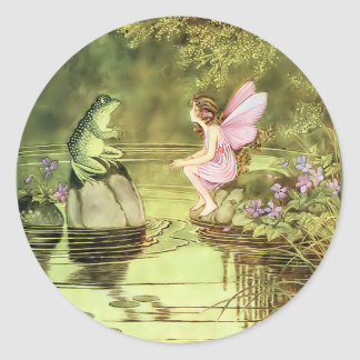 Thank You Card with Fairy and Frog Classic Round Sticker