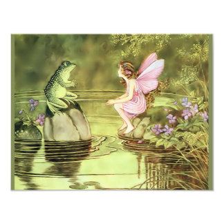 """Thank You Card with Fairy and Frog 4.25"""" X 5.5"""" Invitation Card"""