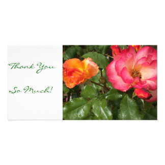 Thank you card with orange and pink roses