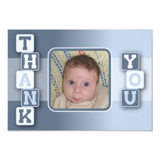 Thank You Card with Photo - Baby Boy with Blocks