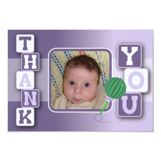 Thank You Card with Photo -Baby Girl Blocks Rattle