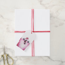 Thank you card with pink chicken gift tags