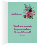 Thank You Card with Vintage Hollyhock Blooms V03