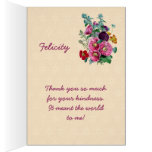 Thank You Card with Vintage Hollyhock Blooms V07