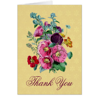 Thank You Card with Vintage Hollyhock Blooms V08