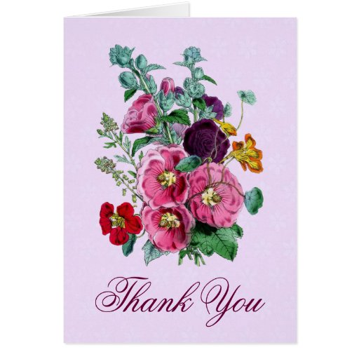 Thank You Card with Vintage Hollyhock Blooms V09
