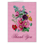 Thank You Card with Vintage Hollyhock Blooms V12