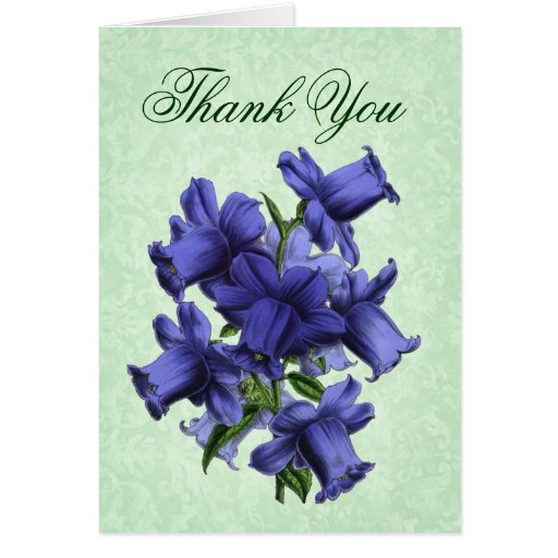 Thank You Card with Vintage Purple Flowers
